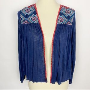 AMERICAN EAGLE Embroidered Yoke Open Jacket